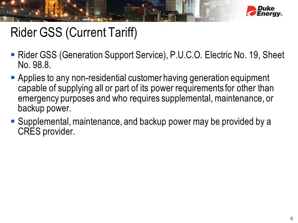 6 Rider GSS (Current Tariff)  Rider GSS (Generation Support Service), P.U.C.O.