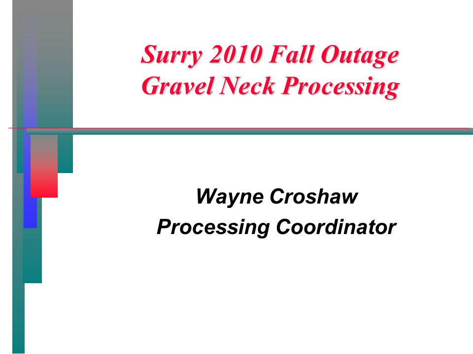 Surry 2010 Fall Outage Gravel Neck Processing Wayne Croshaw Processing Coordinator