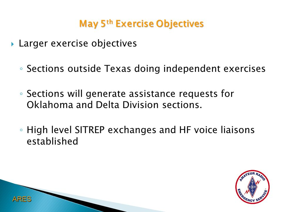 May 5 th Exercise Objectives  Larger exercise objectives ◦ Sections outside Texas doing independent exercises ◦ Sections will generate assistance req