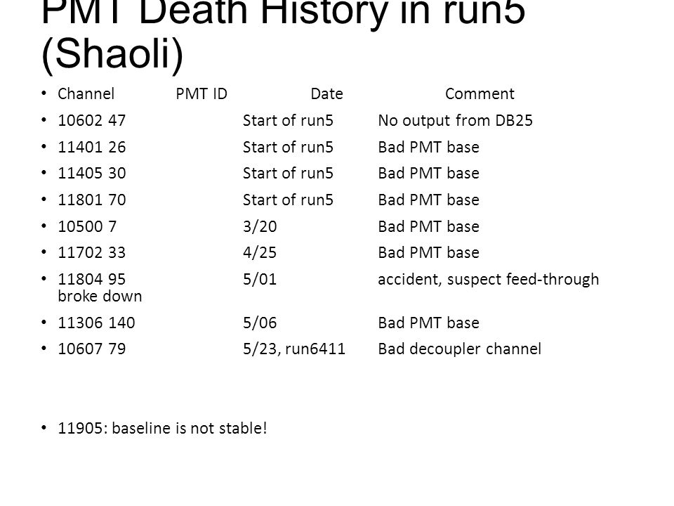 PMT Death History in run5 (Shaoli) ChannelPMT ID DateComment 1060247Start of run5No output from DB25 1140126Start of run5Bad PMT base 1140530Start of run5Bad PMT base 1180170Start of run5Bad PMT base 1050073/20Bad PMT base 11702334/25Bad PMT base 11804955/01accident, suspect feed-through broke down 113061405/06Bad PMT base 10607795/23, run6411Bad decoupler channel 11905: baseline is not stable!