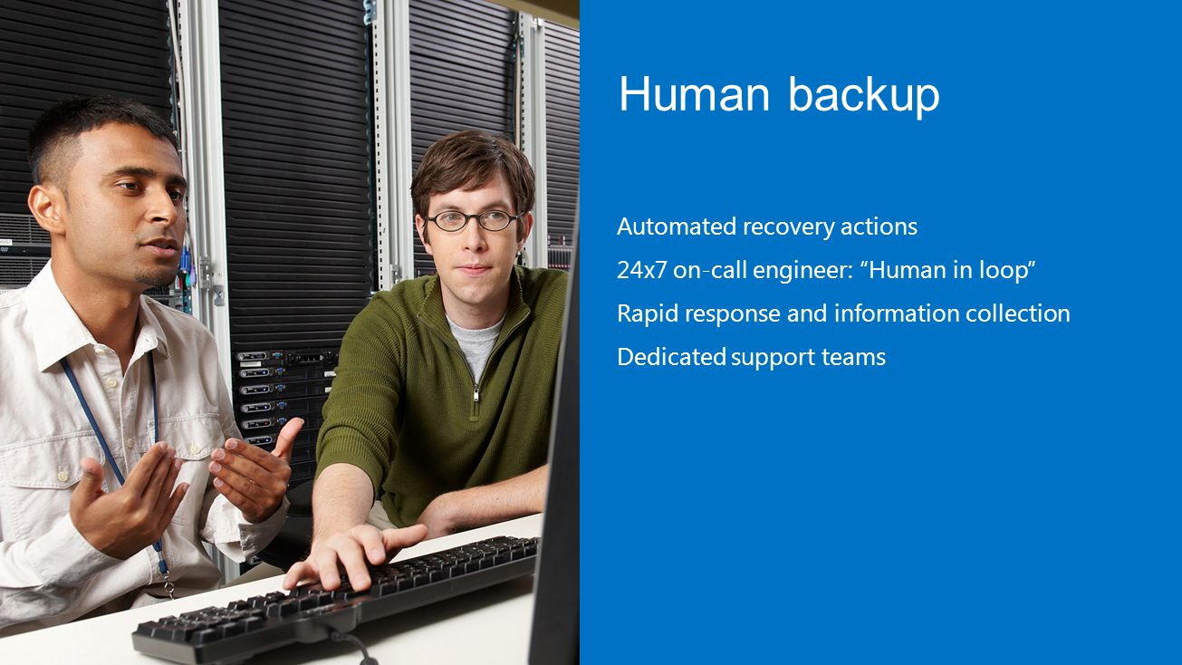Human backup Automated recovery actions 24x7 on-call engineer: Human in loop Rapid response and information collection Dedicated support teams