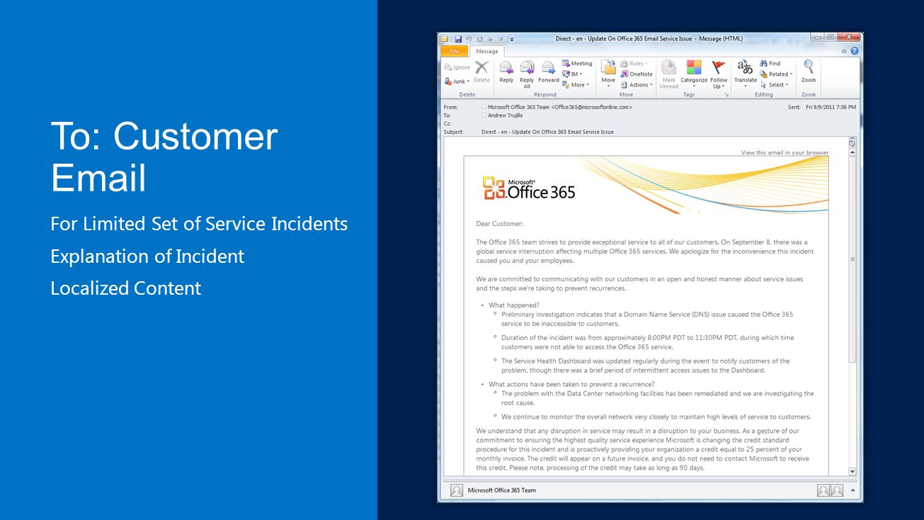 To: Customer Email For Limited Set of Service Incidents Explanation of Incident Localized Content