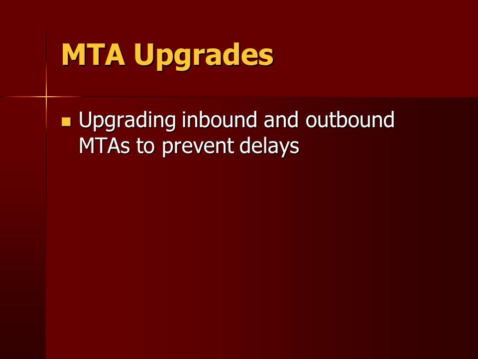MTA Upgrades Upgrading inbound and outbound MTAs to prevent delays Upgrading inbound and outbound MTAs to prevent delays