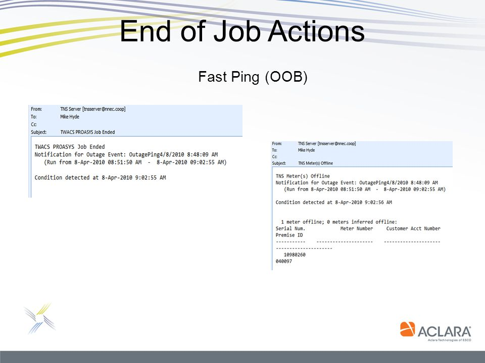 End of Job Actions Fast Ping (OOB)