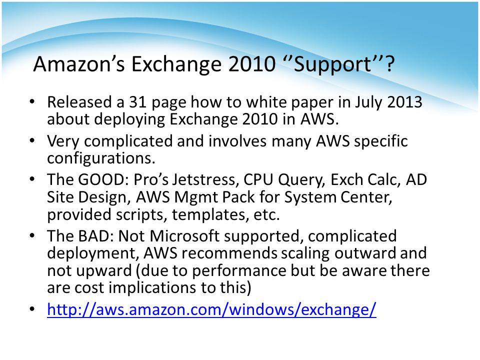 Amazon's Exchange 2010 ''Support''.
