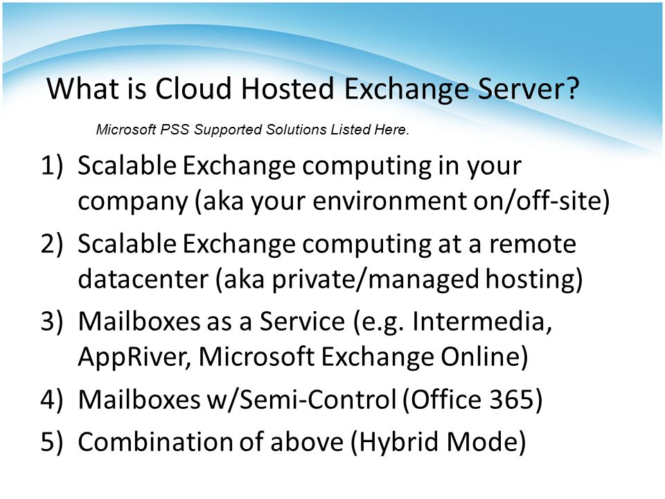 What is Cloud Hosted Exchange Server.