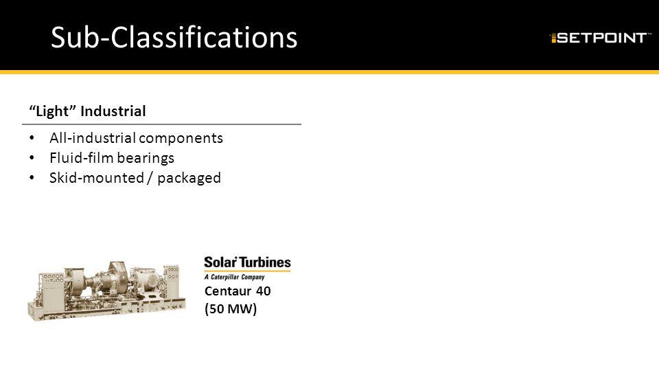 "Sub-Classifications ""Light"" IndustrialHybrid All-industrial components Fluid-film bearings Skid-mounted / packaged Part-aero / Part-industrial compone"