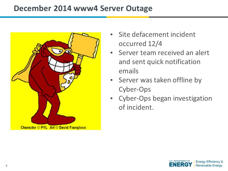 4 December 2014 www4 Server Outage Site defacement incident occurred 12/4 Server team received an alert and sent quick notification emails Server was taken offline by Cyber-Ops Cyber-Ops began investigation of incident.