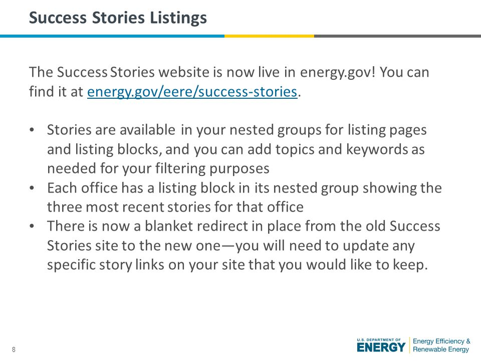9 Success Stories Listings If you create your own success stories content section on your website, add listing pages or page(s) with listing blocks under your About sections.
