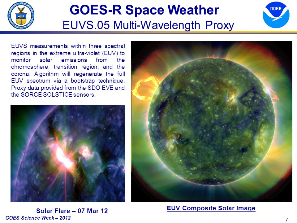 7 GOES Science Week – 2012 GOES-R Space Weather EUVS.05 Multi-Wavelength Proxy EUVS measurements within three spectral regions in the extreme ultra-violet (EUV) to monitor solar emissions from the chromosphere, transition region, and the corona.