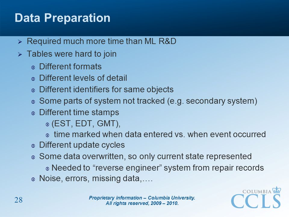 Proprietary information – Columbia University. All rights reserved, 2009 – 2010. 28 Data Preparation  Required much more time than ML R&D  Tables we