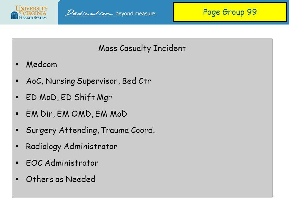 Mass Casualty Incident  Medcom  AoC, Nursing Supervisor, Bed Ctr  ED MoD, ED Shift Mgr  EM Dir, EM OMD, EM MoD  Surgery Attending, Trauma Coord.