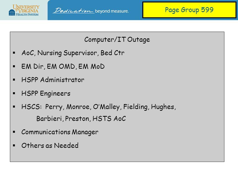 Weather Event  AoC, Nursing Supervisor, Bed Ctr  EM Dir, EM OMD, EM MoD  HSPP Administrator  EOC Administrator  PT & Guest Services  Communications Manager  Others as Needed Page Group 699
