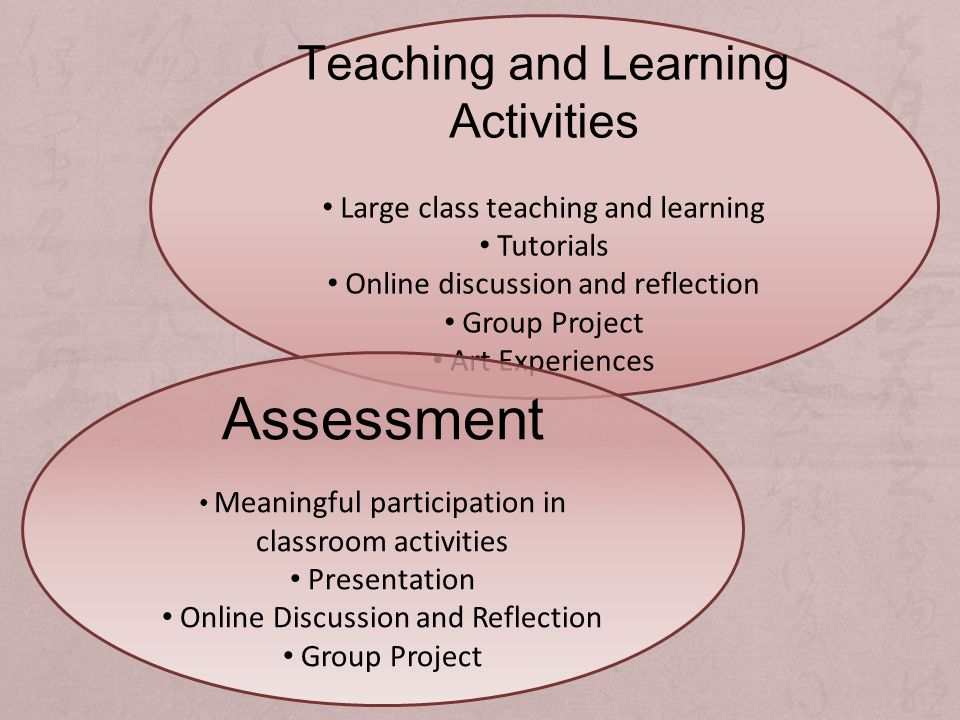 Teaching and Learning Activities Large class teaching and learning Tutorials Online discussion and reflection Group Project Art Experiences Assessment Meaningful participation in classroom activities Presentation Online Discussion and Reflection Group Project