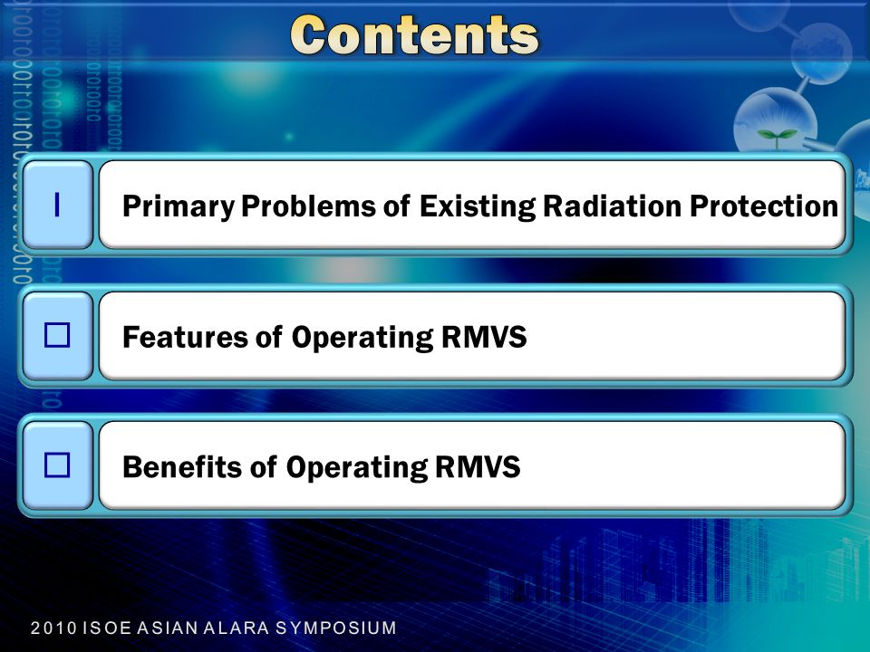 Ⅰ Primary Problems of Existing Radiation Protection Ⅱ Features of Operating RMVS Ⅲ Benefits of Operating RMVS