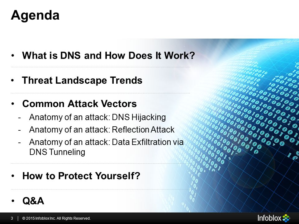 Agenda © 2015 Infoblox Inc. All Rights Reserved.3 How to Protect Yourself? -Anatomy of an attack: DNS Hijacking -Anatomy of an attack: Reflection Atta