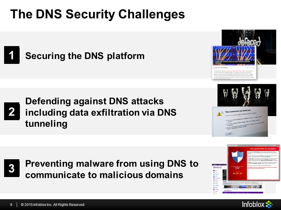 The DNS Security Challenges © 2015 Infoblox Inc. All Rights Reserved.8 Defending against DNS attacks including data exfiltration via DNS tunneling 2 P