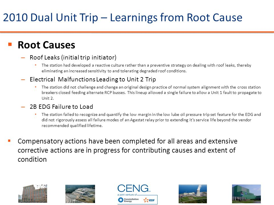 2010 Dual Unit Trip – Learnings from Root Cause  Root Causes – Roof Leaks (initial trip initiator) The station had developed a reactive culture rathe