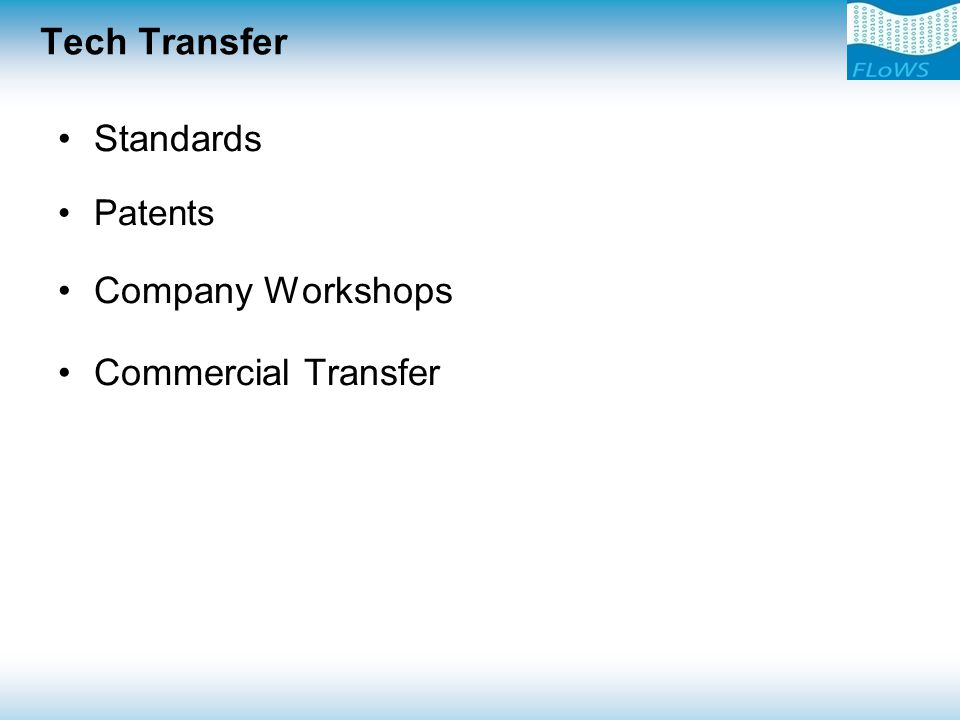 Tech Transfer Standards Patents Company Workshops Commercial Transfer