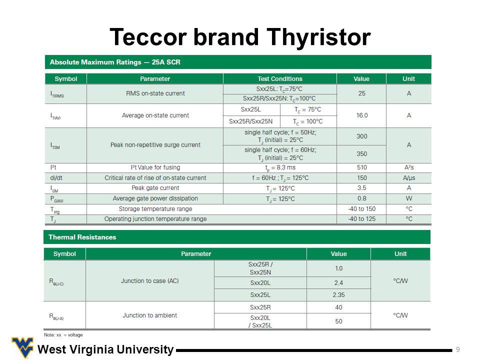 Teccor brand Thyristor 10 West Virginia University Note: Device Sxx25L