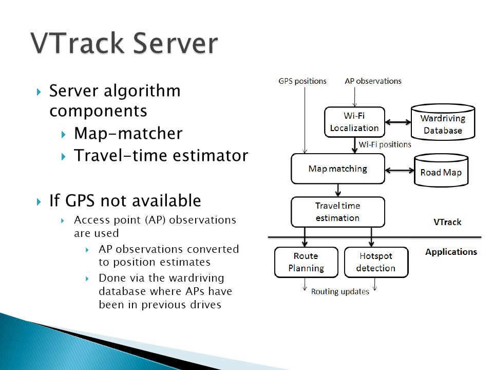  Server algorithm components  Map-matcher  Travel-time estimator  If GPS not available  Access point (AP) observations are used  AP observations converted to position estimates  Done via the wardriving database where APs have been in previous drives