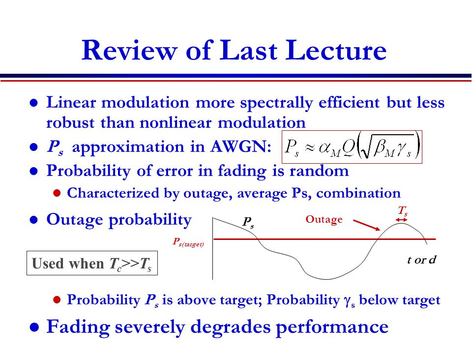 Review of Last Lecture Linear modulation more spectrally efficient but less robust than nonlinear modulation P s approximation in AWGN: Probability of error in fading is random Characterized by outage, average Ps, combination Outage probability Probability P s is above target; Probability  s below target Fading severely degrades performance PsPs P s(target) Outage TsTs t or d Used when T c >>T s