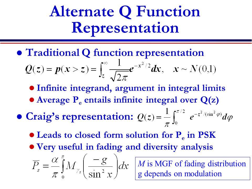 Alternate Q Function Representation Traditional Q function representation Infinite integrand, argument in integral limits Average P e entails infinite