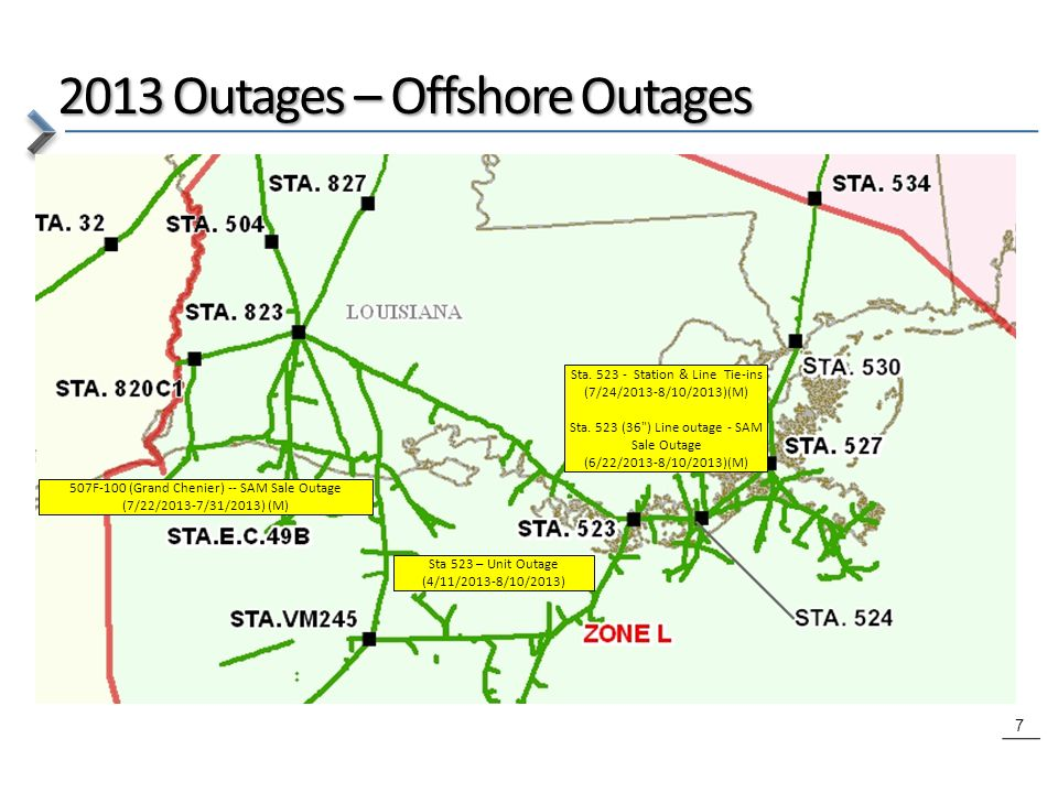 7 2013 Outages – Offshore Outages Sta 523 – Unit Outage (4/11/2013-8/10/2013) 507F-100 (Grand Chenier) -- SAM Sale Outage (7/22/2013-7/31/2013) (M) Sta.