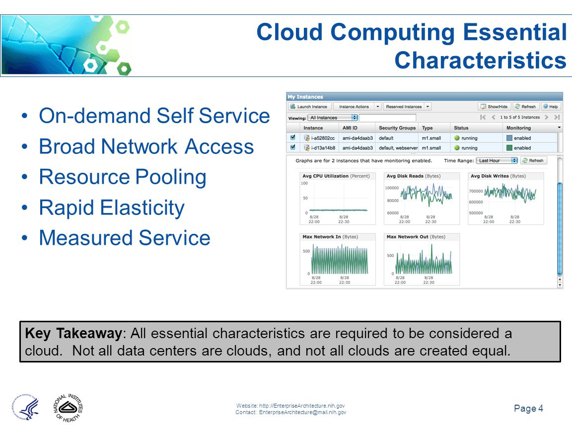 Page 4 Website: http://EnterpriseArchitecture.nih.gov Contact: EnterpriseArchitecture@mail.nih.gov Key Takeaway: All essential characteristics are required to be considered a cloud.