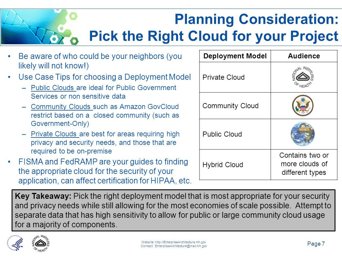 Page 7 Website: http://EnterpriseArchitecture.nih.gov Contact: EnterpriseArchitecture@mail.nih.gov Deployment ModelAudience Private Cloud Community Cloud Public Cloud Hybrid Cloud Contains two or more clouds of different types Key Takeaway: Pick the right deployment model that is most appropriate for your security and privacy needs while still allowing for the most economies of scale possible.