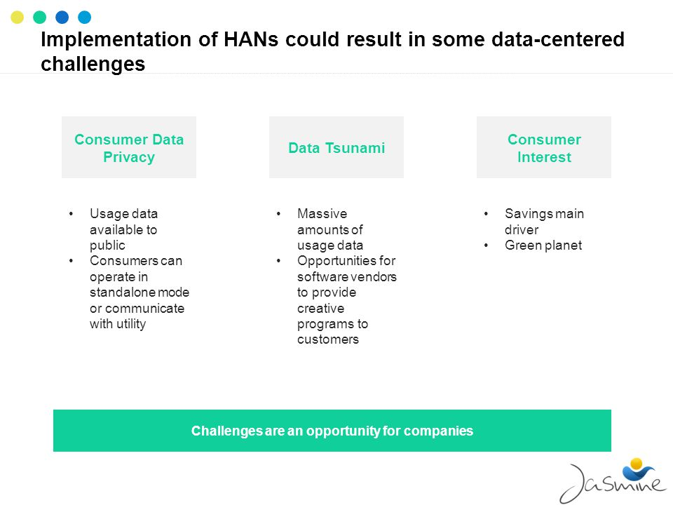Implementation of HANs could result in some data-centered challenges Consumer Data Privacy Usage data available to public Consumers can operate in standalone mode or communicate with utility Data Tsunami Massive amounts of usage data Opportunities for software vendors to provide creative programs to customers Consumer Interest Savings main driver Green planet Challenges are an opportunity for companies
