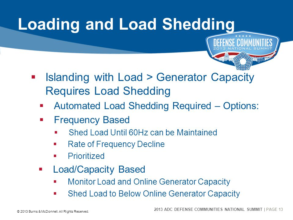 2013 ADC DEFENSE COMMUNITIES NATIONAL SUMMIT | PAGE 13 13 Loading and Load Shedding  Islanding with Load > Generator Capacity Requires Load Shedding