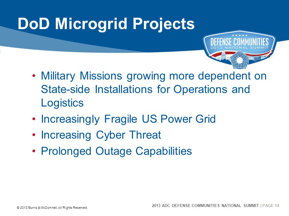 2013 ADC DEFENSE COMMUNITIES NATIONAL SUMMIT | PAGE 14 14 DoD Microgrid Projects Military Missions growing more dependent on State-side Installations for Operations and Logistics Increasingly Fragile US Power Grid Increasing Cyber Threat Prolonged Outage Capabilities © 2013 Burns & McDonnell.
