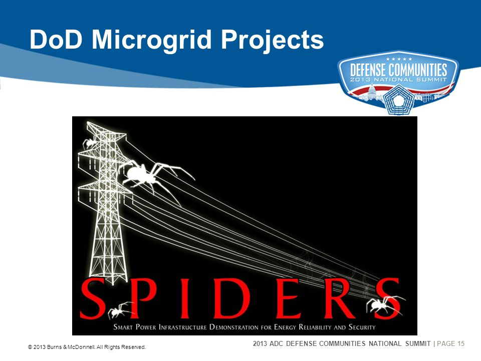 2013 ADC DEFENSE COMMUNITIES NATIONAL SUMMIT | PAGE 15 15 DoD Microgrid Projects © 2013 Burns & McDonnell. All Rights Reserved.