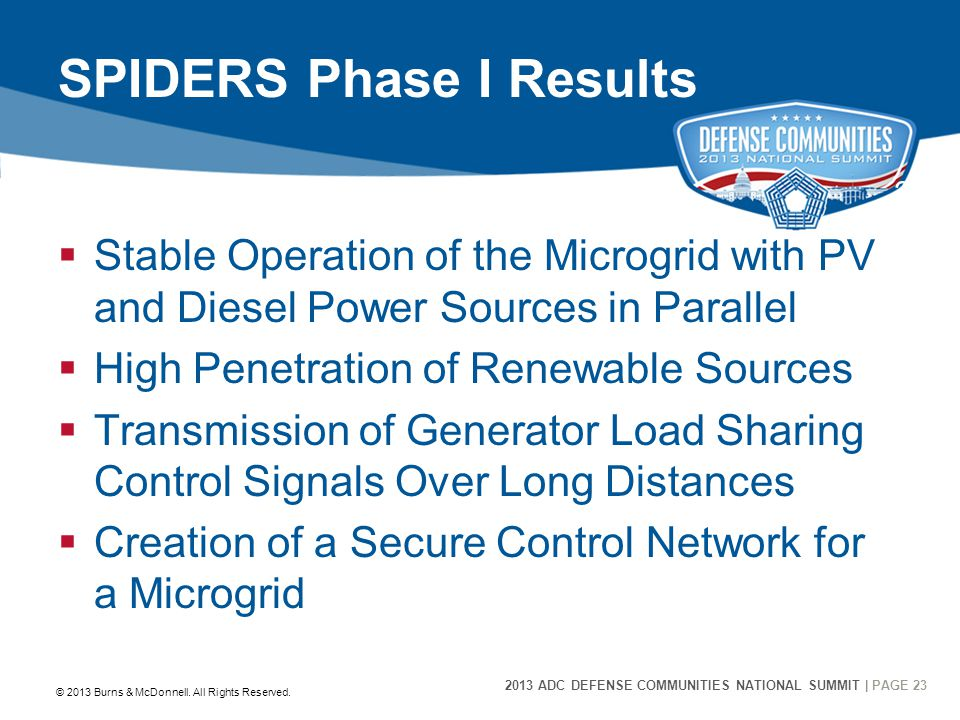 2013 ADC DEFENSE COMMUNITIES NATIONAL SUMMIT | PAGE 23 23 SPIDERS Phase I Results  Stable Operation of the Microgrid with PV and Diesel Power Sources