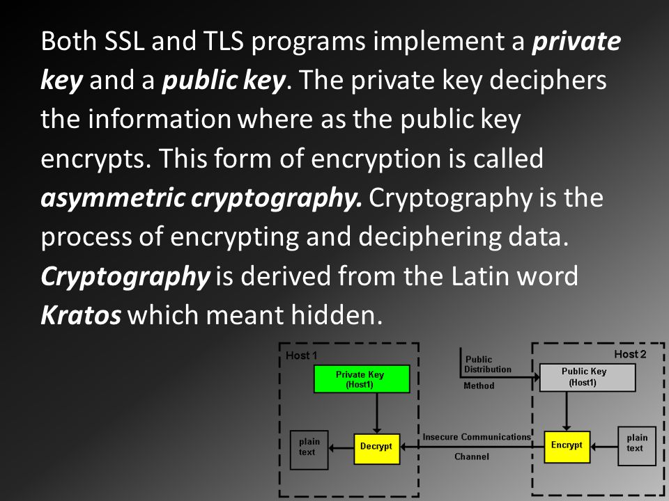 Both SSL and TLS programs implement a private key and a public key.