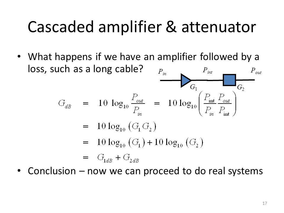 Cascaded amplifier & attenuator What happens if we have an amplifier followed by a loss, such as a long cable? Conclusion – now we can proceed to do r