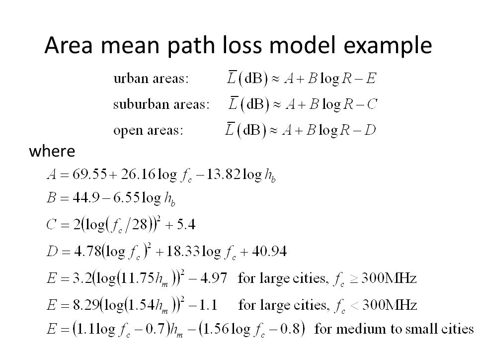 Area mean path loss model example where