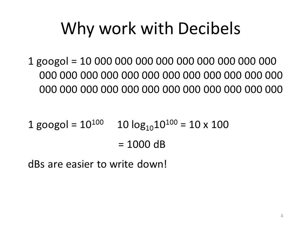 1 googol = 10 000 000 000 000 000 000 000 000 000 000 000 000 000 000 000 000 000 000 000 000 000 000 000 000 000 000 000 000 000 000 000 000 000 1 googol = 10 100 10 log 10 10 100 = 10 x 100 = 1000 dB dBs are easier to write down.
