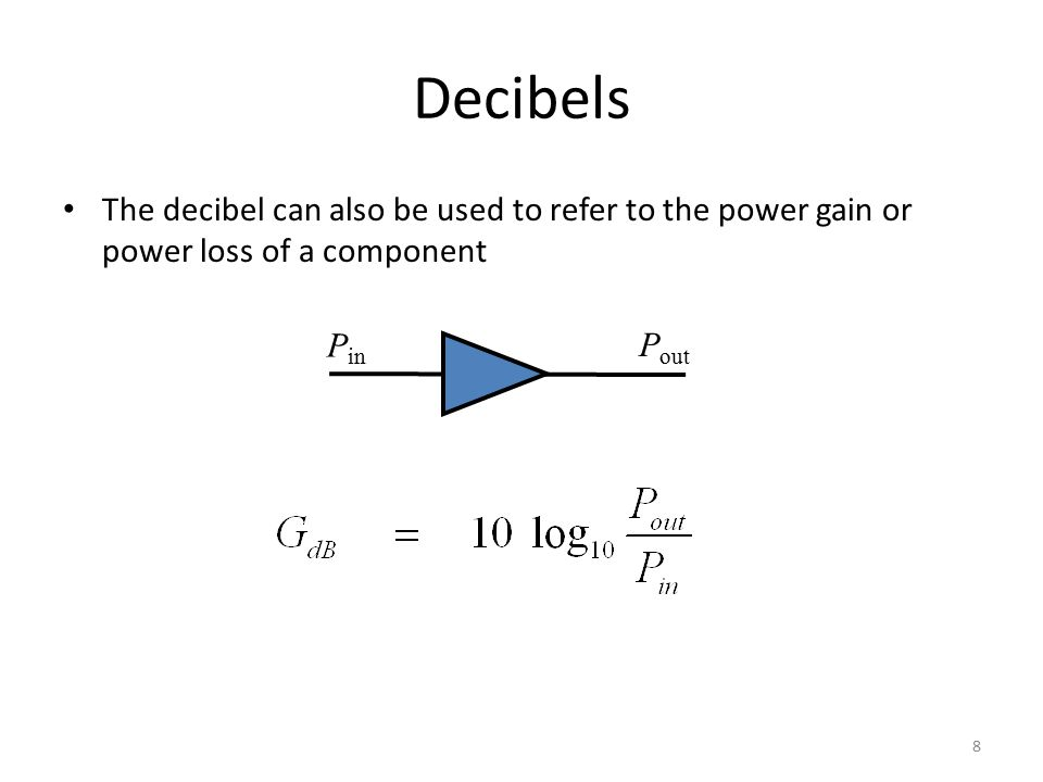 The decibel can also be used to refer to the power gain or power loss of a component 8 P in P out Decibels