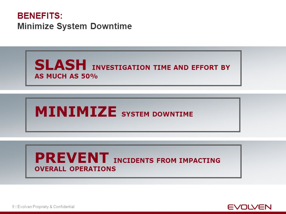 9 | Evolven Propriety & Confidential BENEFITS: Minimize System Downtime PREVENT INCIDENTS FROM IMPACTING OVERALL OPERATIONS SLASH INVESTIGATION TIME AND EFFORT BY AS MUCH AS 50% MINIMIZE SYSTEM DOWNTIME