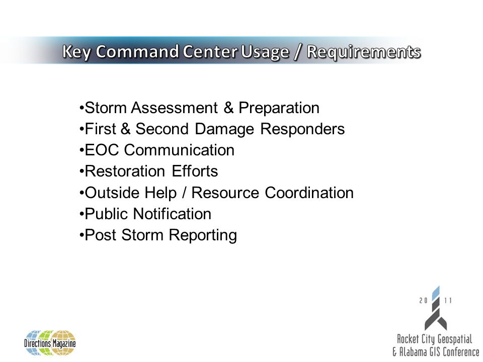 Storm Assessment & Preparation First & Second Damage Responders EOC Communication Restoration Efforts Outside Help / Resource Coordination Public Notification Post Storm Reporting