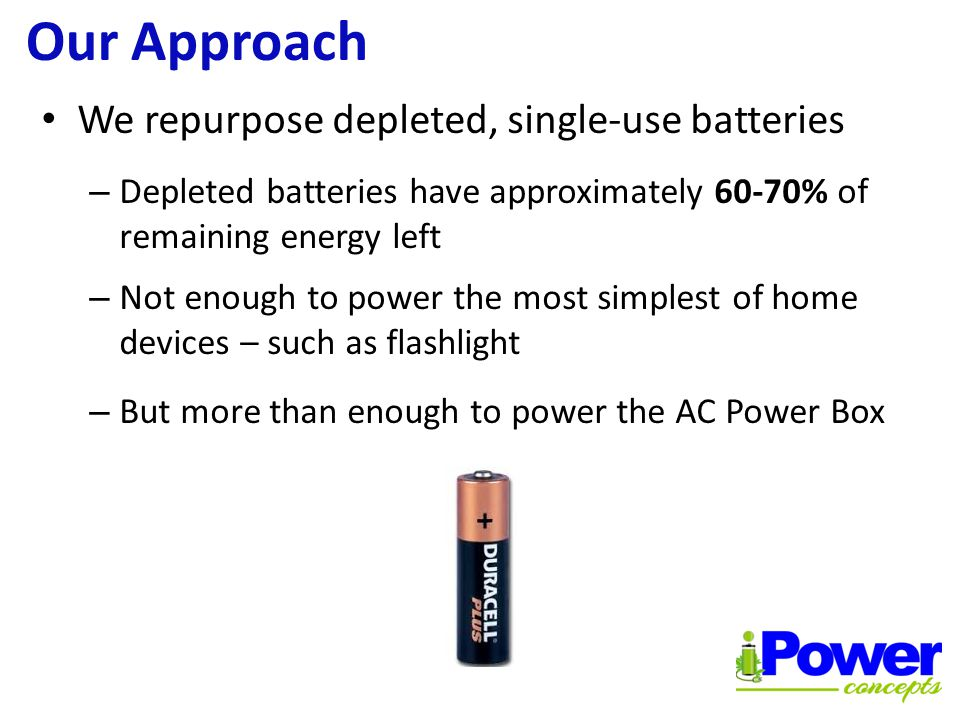 The AC Power Box Converts DC power to AC power Harnesses energy from depleted single-use batteries Powered by 1.5 Volt flashlight batteries - new or depleted Powers LED lights and radios for multiple, consecutive hours without any degradation in performance