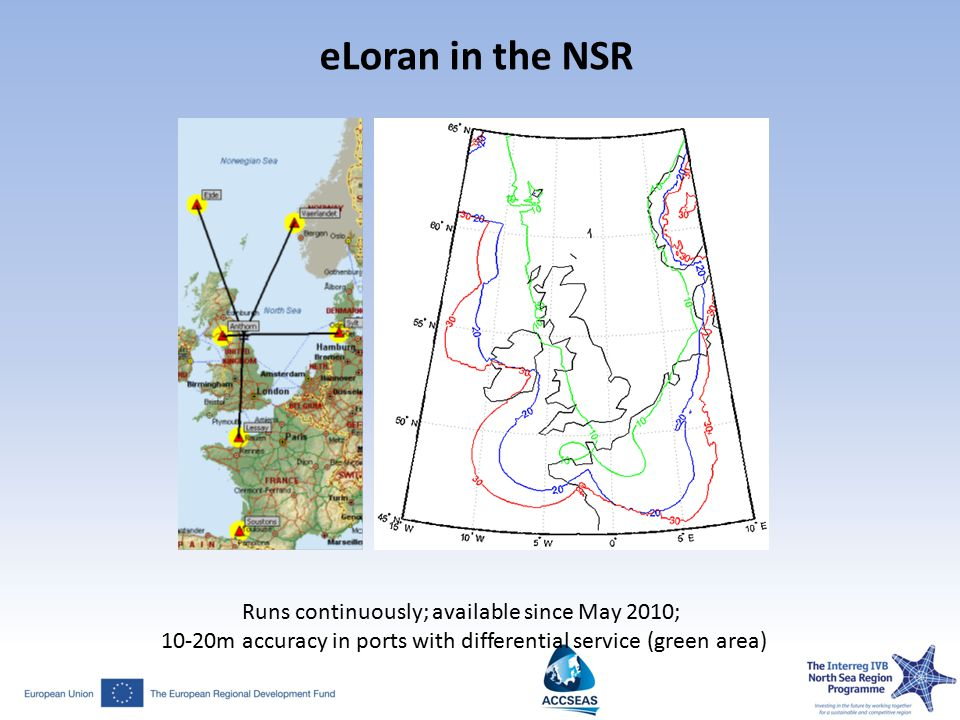 eLoran in the NSR Runs continuously; available since May 2010; 10-20m accuracy in ports with differential service (green area)