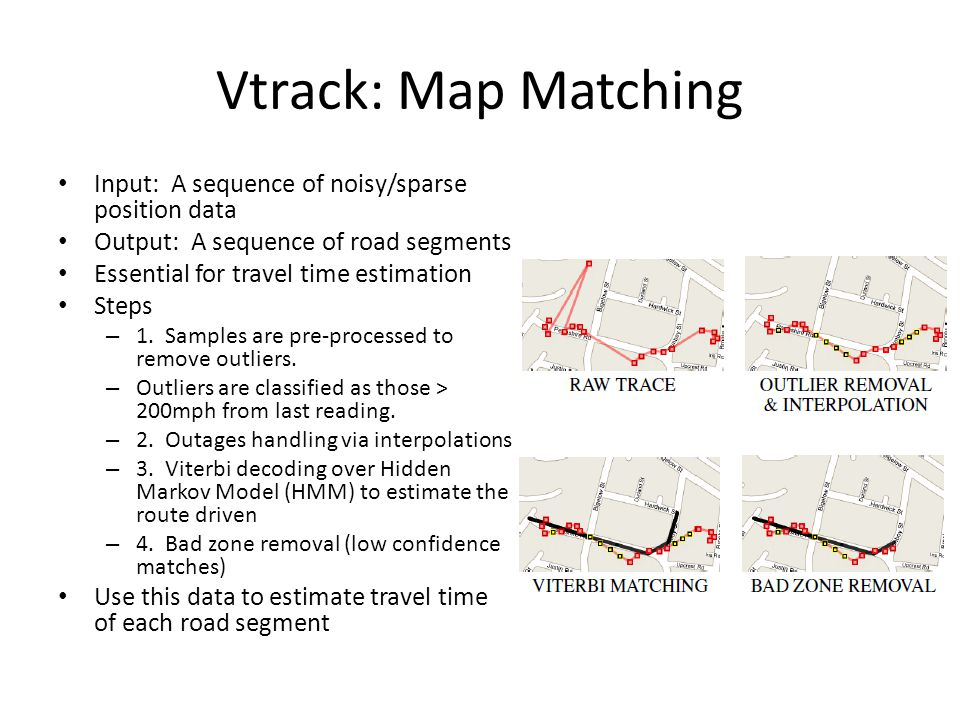 Vtrack: Map Matching Input: A sequence of noisy/sparse position data Output: A sequence of road segments Essential for travel time estimation Steps – 1.