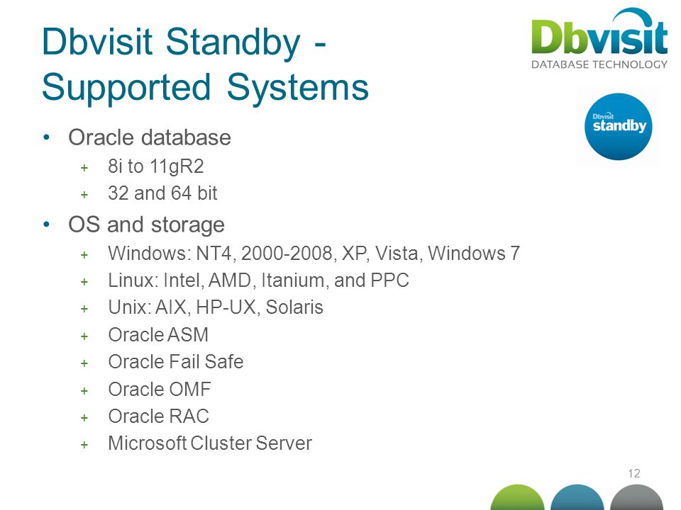 12 Dbvisit Standby - Supported Systems Oracle database + 8i to 11gR2 + 32 and 64 bit OS and storage + Windows: NT4, 2000-2008, XP, Vista, Windows 7 +