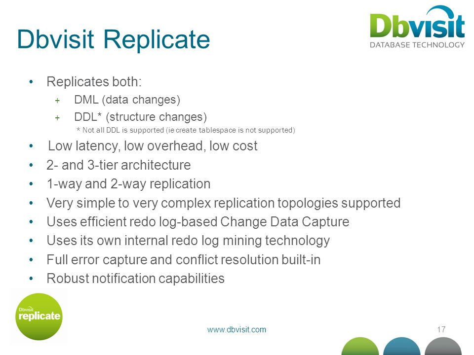 17www.dbvisit.com Dbvisit Replicate Replicates both: + DML (data changes) + DDL* (structure changes) * Not all DDL is supported (ie create tablespace