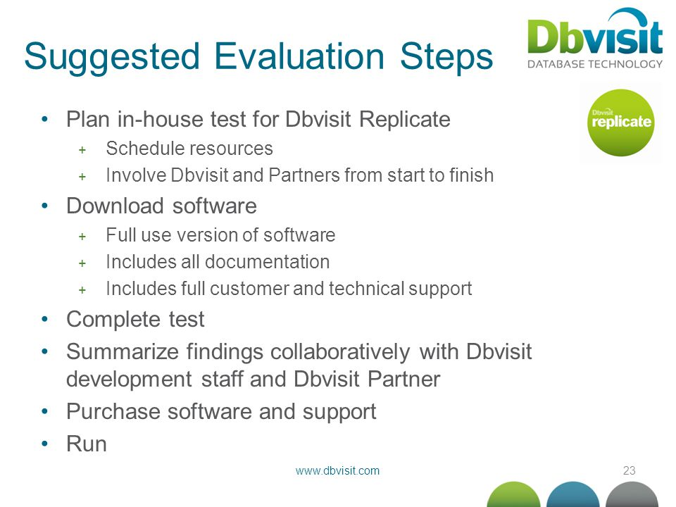 23www.dbvisit.com Suggested Evaluation Steps Plan in-house test for Dbvisit Replicate + Schedule resources + Involve Dbvisit and Partners from start t