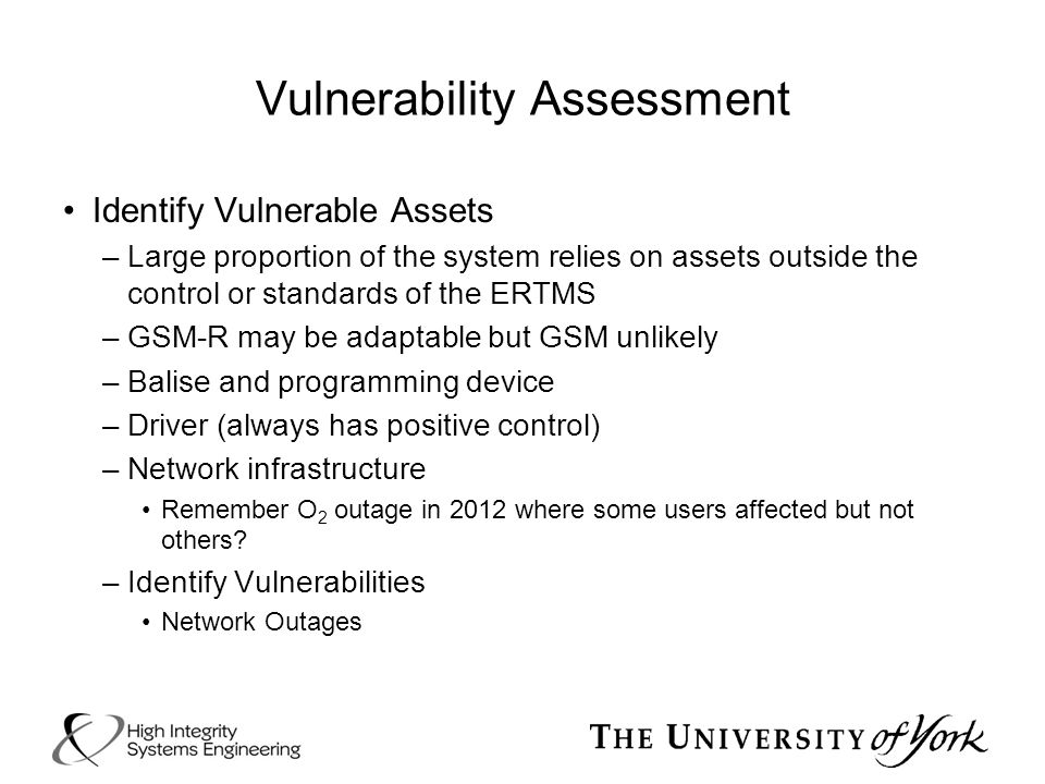 Vulnerability Assessment Identify Vulnerable Assets –Large proportion of the system relies on assets outside the control or standards of the ERTMS –GS