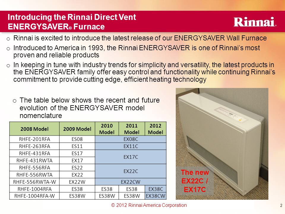 www.foreverhotwater.comwww.foreverhotwater.com www.comfortableheatingsolutions.com © 2007 Rinnai Corporation © 2012 Rinnai America Corporation 2 Introducing the Rinnai Direct Vent ENERGYSAVER ® Furnace 2008 Model2009 Model 2010 Model 2011 Model 2012 Model RHFE-201RFAES08EX08C RHFE-263RFAES11EX11C RHFE-431RFAES17 EX17C RHFE-431RWTAEX17 RHFE-556RFAES22 EX22C RHFE-556RWTAEX22 RHFE-556RWTA-WEX22WEX22CW RHFE-1004RFAES38 EX38C RHFE-1004RFA-WES38W EX38CW o Rinnai is excited to introduce the latest release of our ENERGYSAVER Wall Furnace o Introduced to America in 1993, the Rinnai ENERGYSAVER is one of Rinnai's most proven and reliable products o In keeping in tune with industry trends for simplicity and versatility, the latest products in the ENERGYSAVER family offer easy control and functionality while continuing Rinnai's commitment to provide cutting edge, efficient heating technology o The table below shows the recent and future evolution of the ENERGYSAVER model nomenclature The new EX22C / EX17C